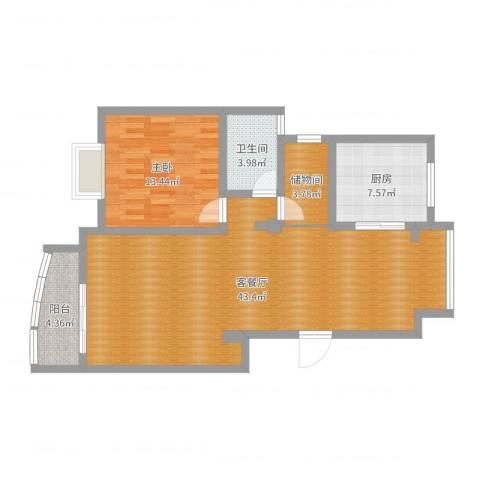 百合苑213#1室2厅1卫1厨96.00㎡户型图