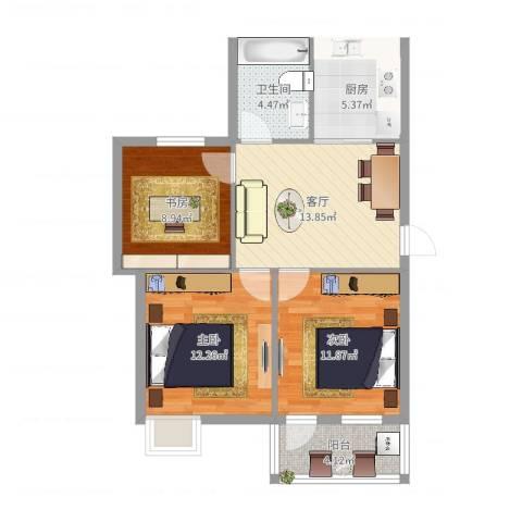 藕池新村3室1厅1卫1厨76.00㎡户型图