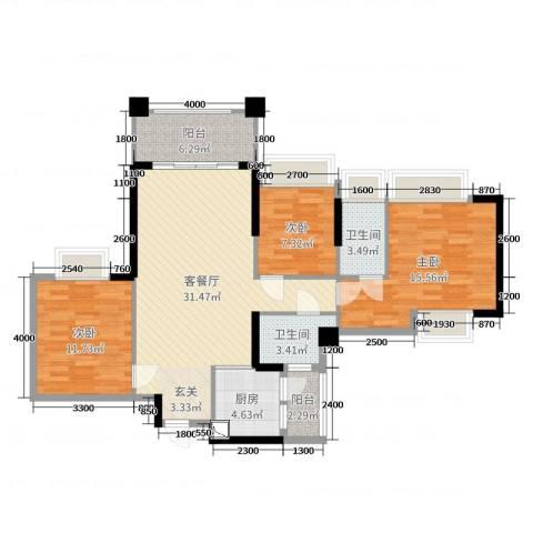 加州花园二期3室2厅2卫1厨109.00㎡户型图