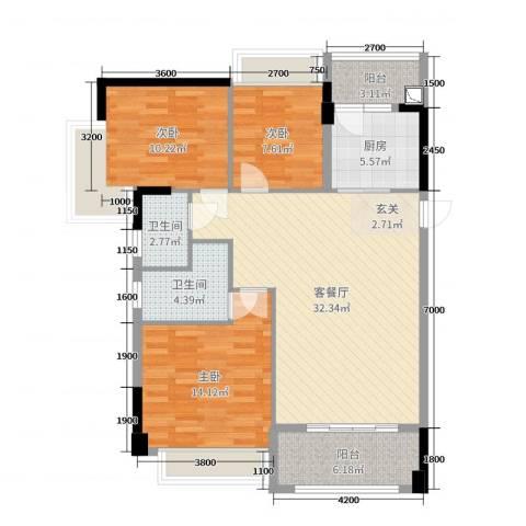 加州花园二期3室2厅2卫1厨108.00㎡户型图