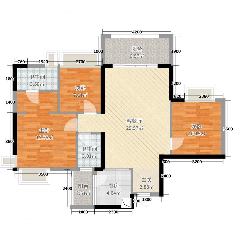 加州花园二期107.68㎡4栋01/02单位户型3室3厅2卫