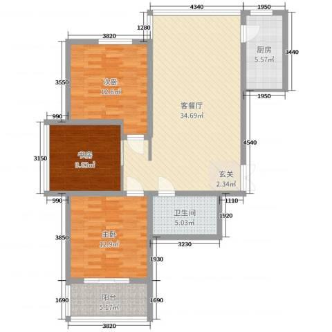 腾运世元3室2厅1卫1厨85.60㎡户型图