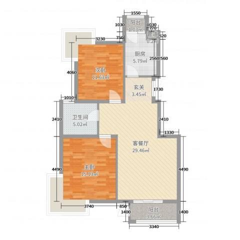 金海国际花园2室2厅1卫1厨90.00㎡户型图