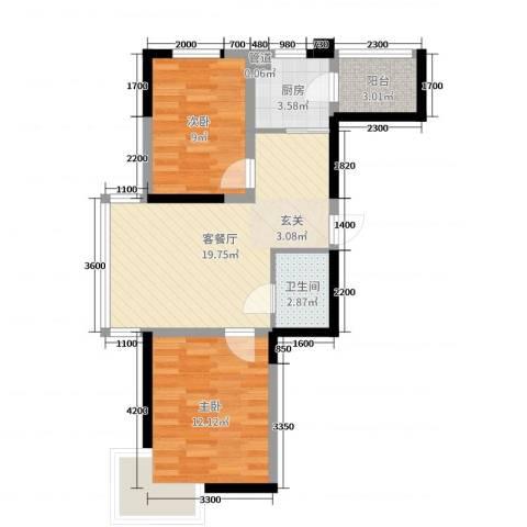 浑河湾2室2厅1卫1厨77.00㎡户型图