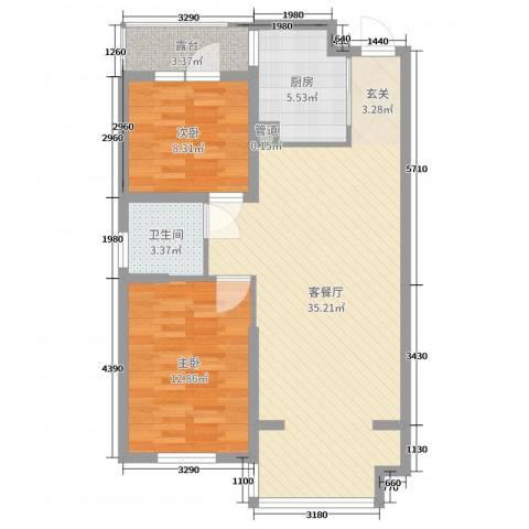 浑河湾2室2厅1卫1厨86.00㎡户型图