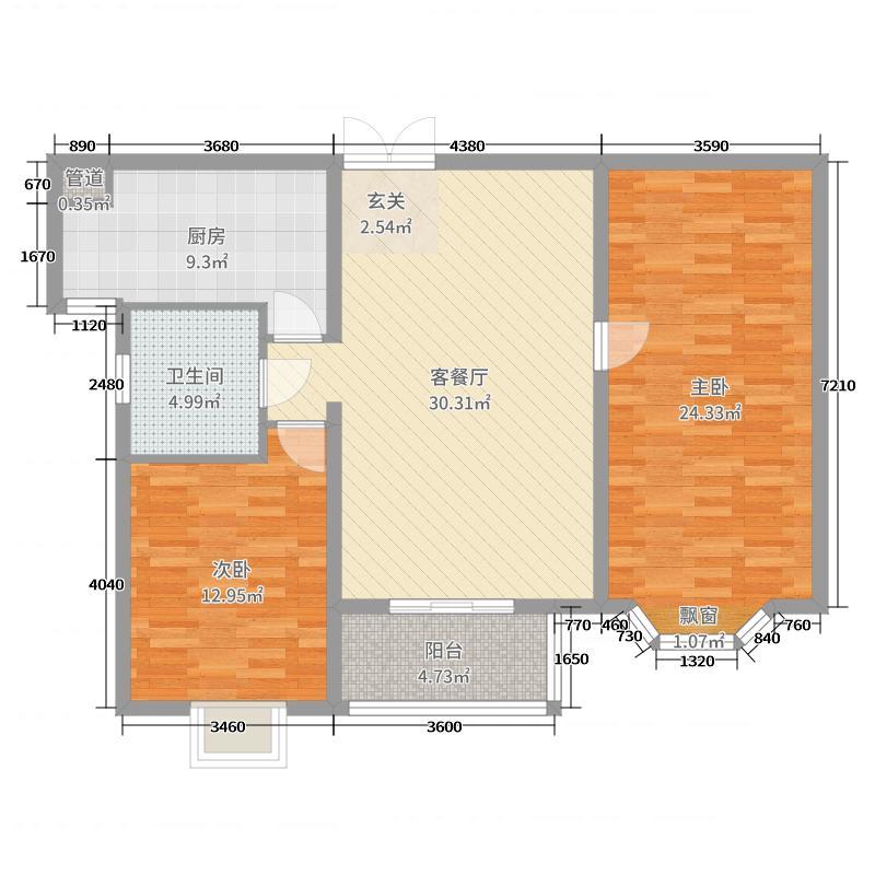 恒盛第一国际107.60㎡B2户型2室2厅1卫1厨