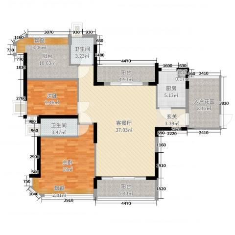 悦盈新城2室2厅2卫1厨132.00㎡户型图