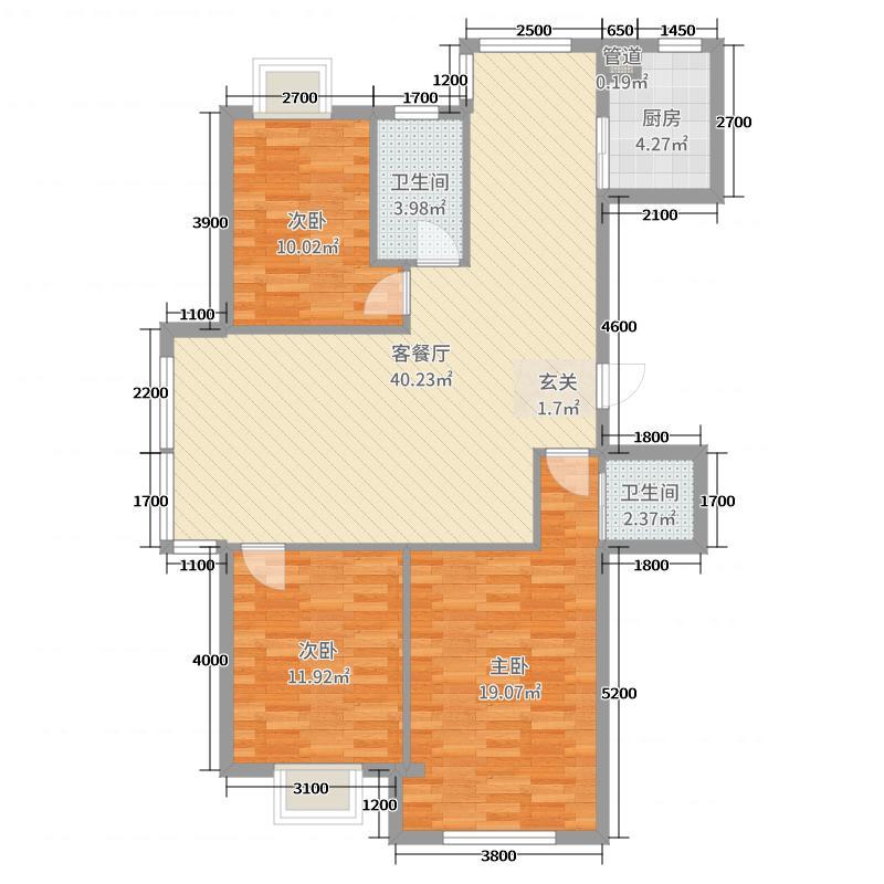 蓝山国际124.12㎡J户型3室3厅2卫1厨