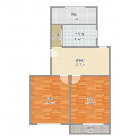 梅陇十一村118.5012室2厅1卫1厨76.00㎡户型图