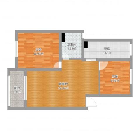 丽水湾120#1022室2厅1卫1厨76.00㎡户型图