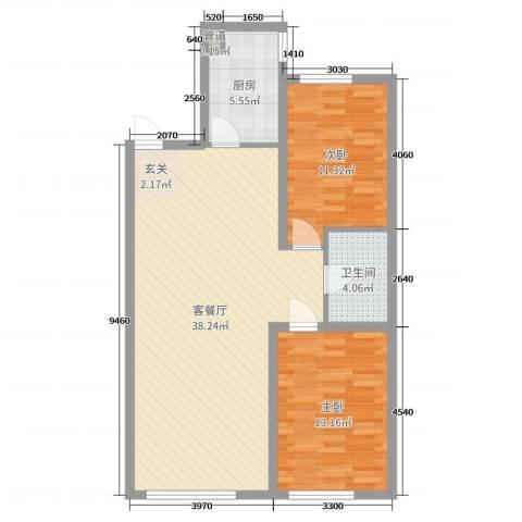 龙湖・紫都城2室2厅1卫1厨93.00㎡户型图