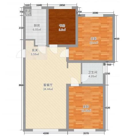 龙湖・紫都城3室2厅1卫1厨103.00㎡户型图