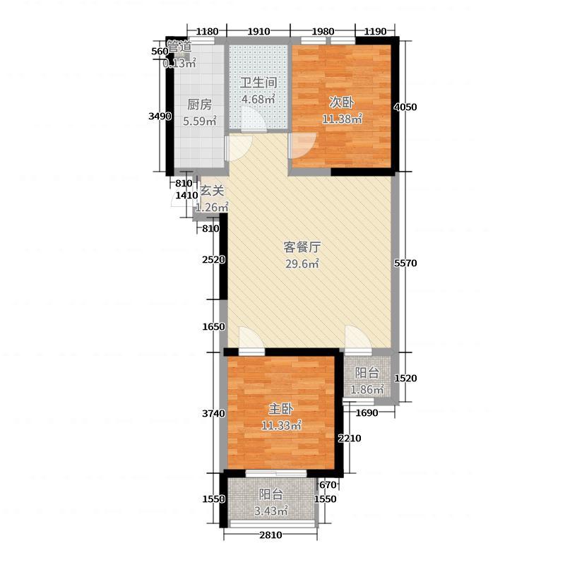 金象泰温馨家园85.00㎡7号楼8号楼D户型2室2厅1卫1厨