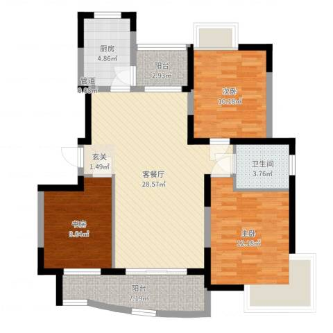 静安新城十一区3室2厅1卫1厨98.00㎡户型图