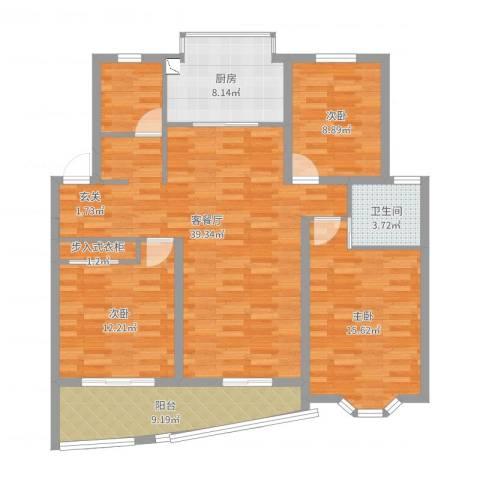 静安新城八区3室2厅1卫1厨123.00㎡户型图