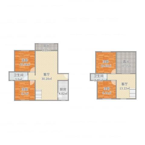 静安新城八区4室2厅2卫1厨133.00㎡户型图