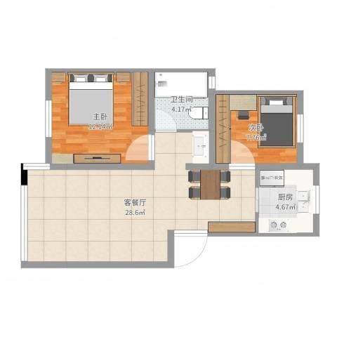 金硕河畔景园14号201室2室2厅1卫1厨72.00㎡户型图