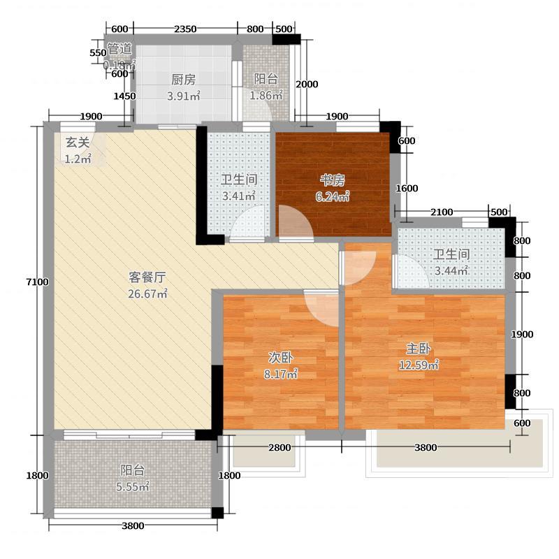 文华豪庭89.91㎡7幢之二04户型3室3厅2卫1厨