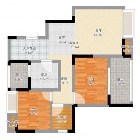 渝西印象2室2厅1卫1厨83.00㎡户型图