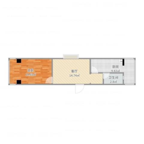 华林都市家园1室1厅1卫1厨53.00㎡户型图