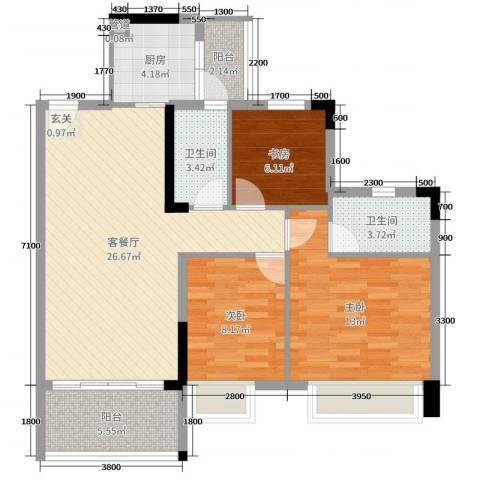 文华豪庭3室2厅2卫1厨91.00㎡户型图