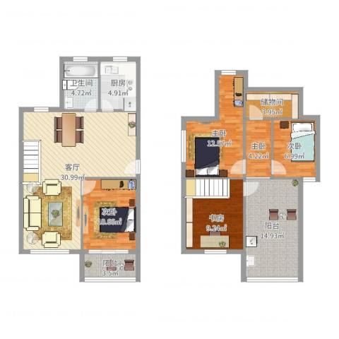 钱湖人家5室1厅1卫1厨138.00㎡户型图