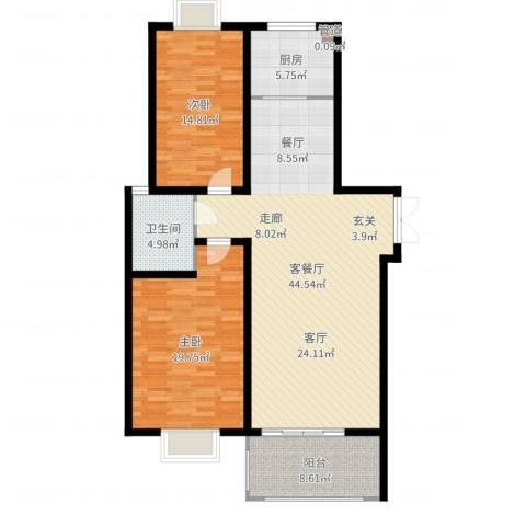 弘昌楚香苑2室2厅1卫1厨123.00㎡户型图