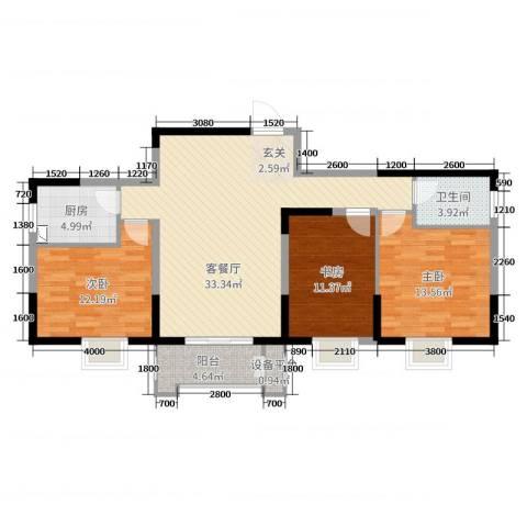 大唐新干线3室2厅1卫1厨111.00㎡户型图