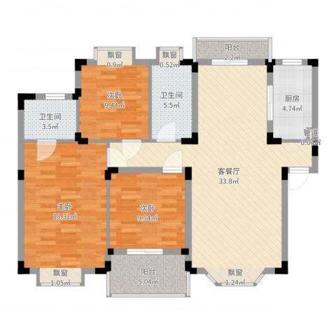 元一时代花园3室2厅2卫1厨115.00㎡户型图