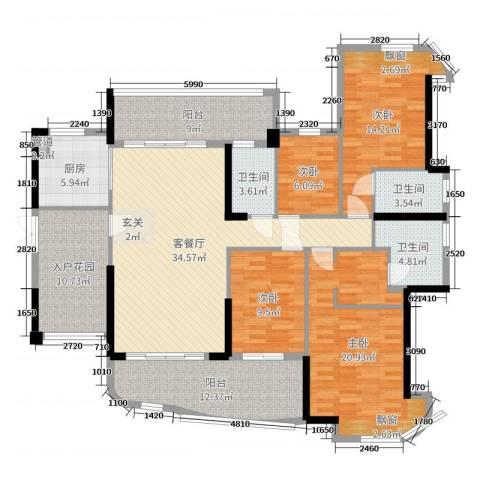 悦盈新城4室2厅3卫1厨169.00㎡户型图