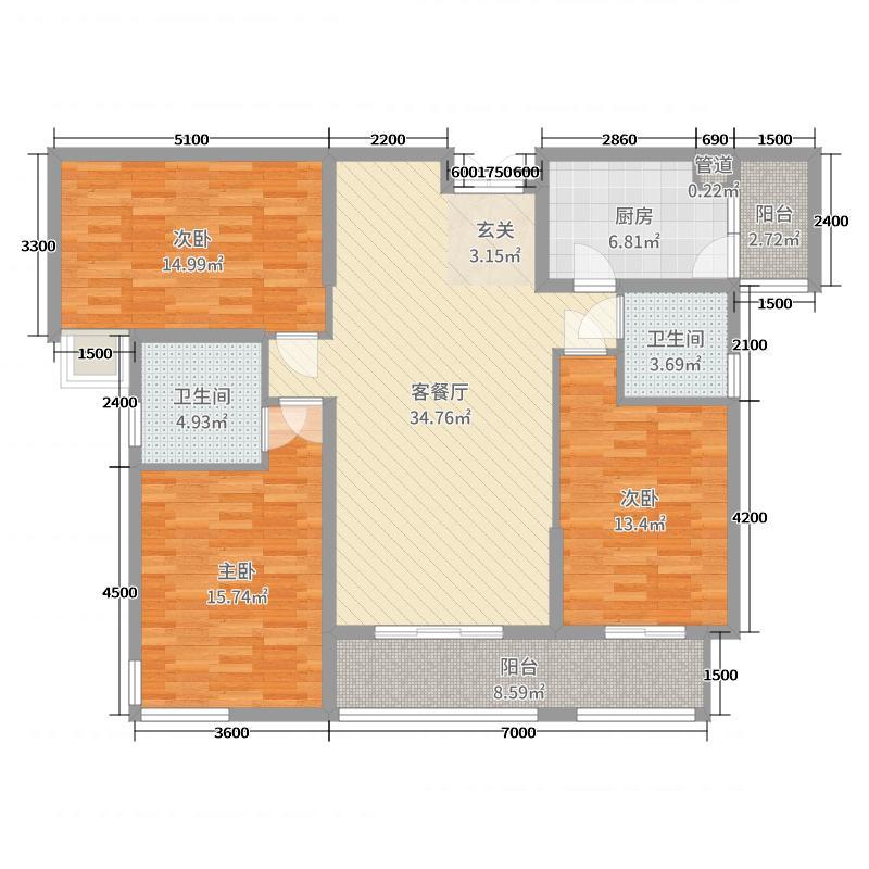 华颐和苑142.21㎡项目一期A3户型3室3厅2卫1厨