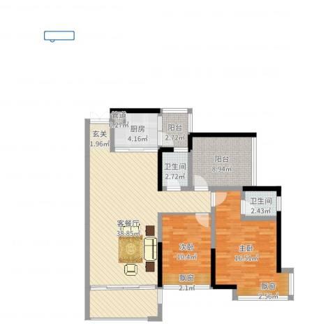 翡翠山河2室2厅2卫1厨109.00㎡户型图