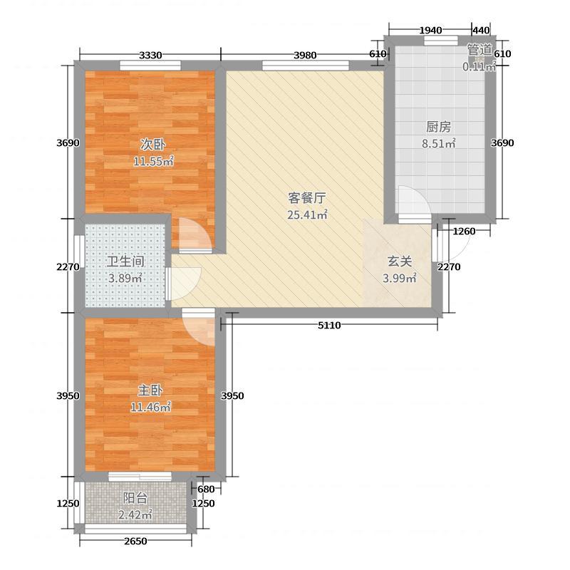 沃土・阳光二期86.00㎡H1户型2室2厅1卫1厨