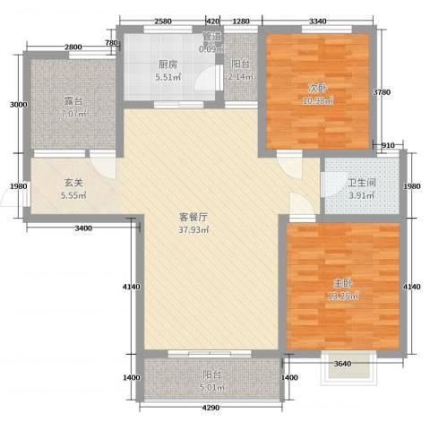 仕方国际2室2厅1卫1厨112.00㎡户型图