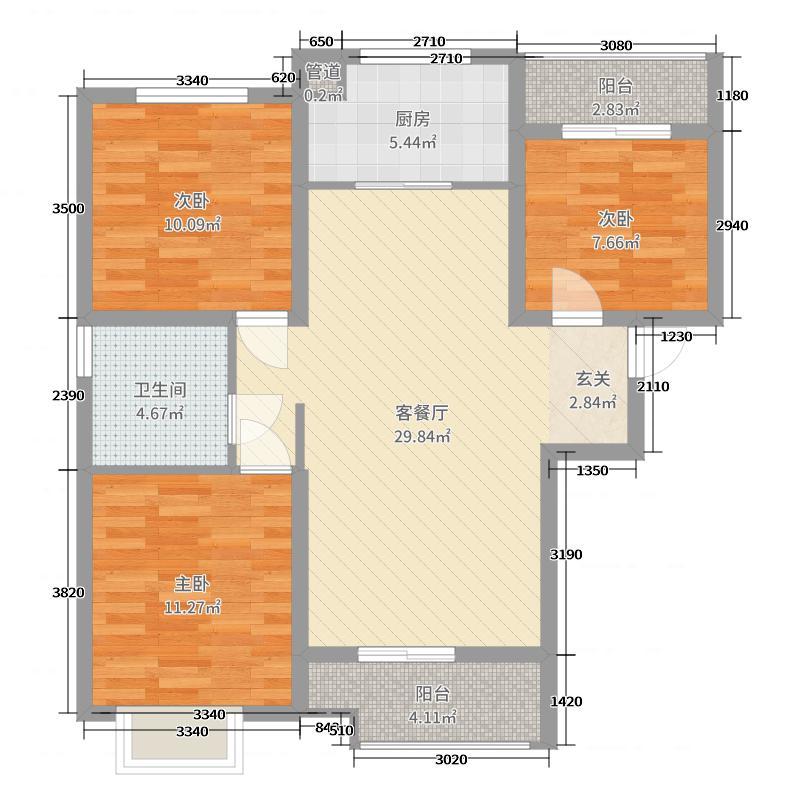 汉和・十园110.00㎡B户型3室3厅1卫1厨