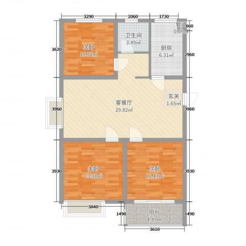 仕方国际3室2厅1卫1厨111.00㎡户型图