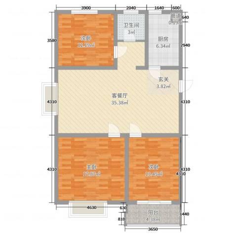 仕方国际3室2厅1卫1厨116.00㎡户型图