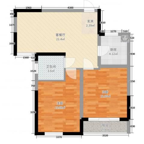 保利拉菲公馆2室2厅1卫1厨57.44㎡户型图