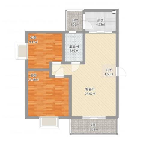 江岸山景2室2厅1卫1厨98.00㎡户型图