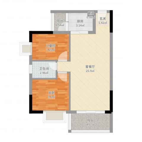 千禧嘉园2室2厅1卫1厨69.00㎡户型图