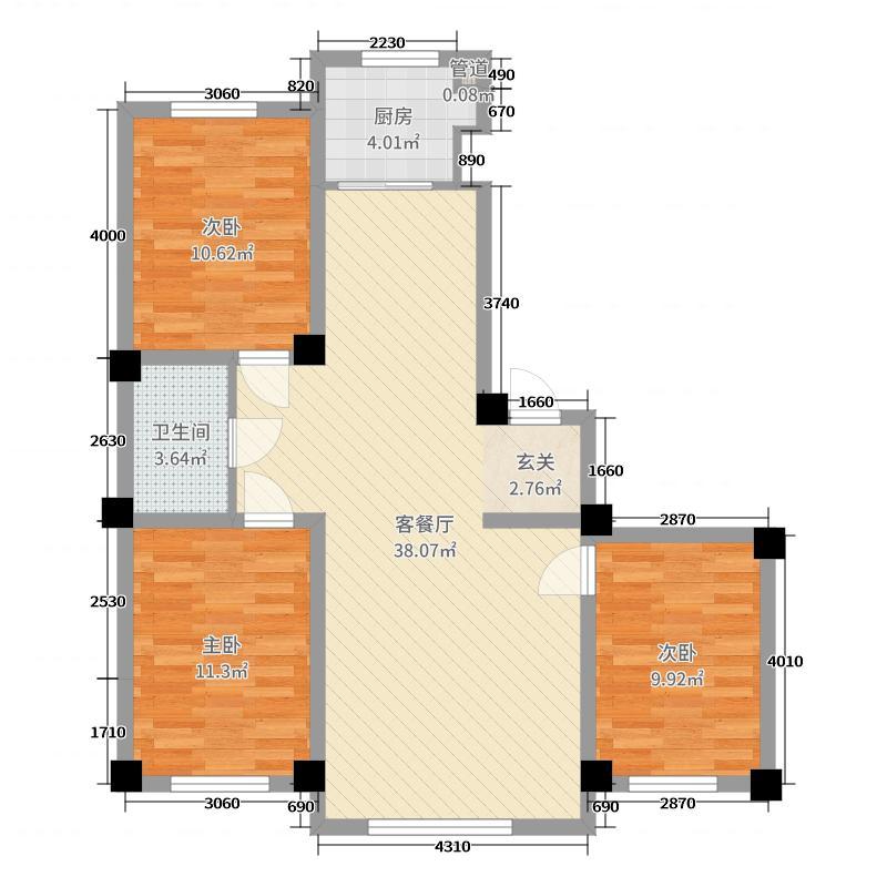 鑫丰・熙区府109.97㎡7#8#K户型3室3厅1卫1厨