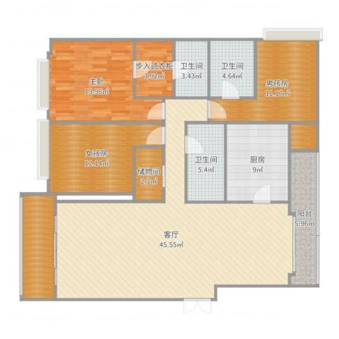南昌雅颂居1室1厅3卫1厨157.00㎡户型图