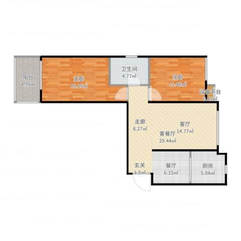 盛和嘉园2室2厅1卫1厨89.00㎡户型图