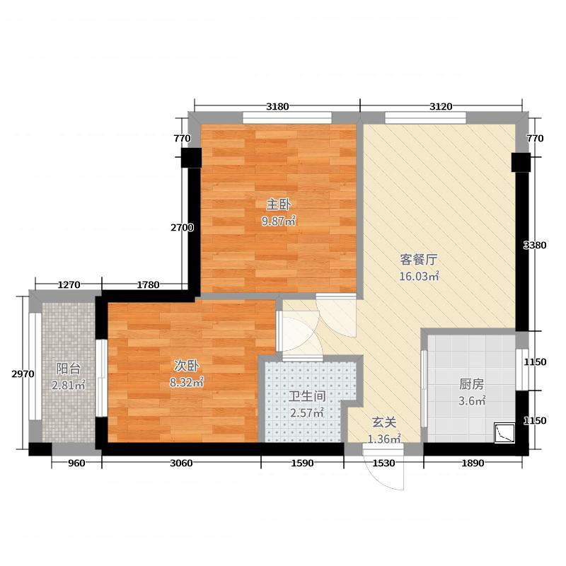 名城紫金轩54.00㎡A户型2室2厅1卫1厨
