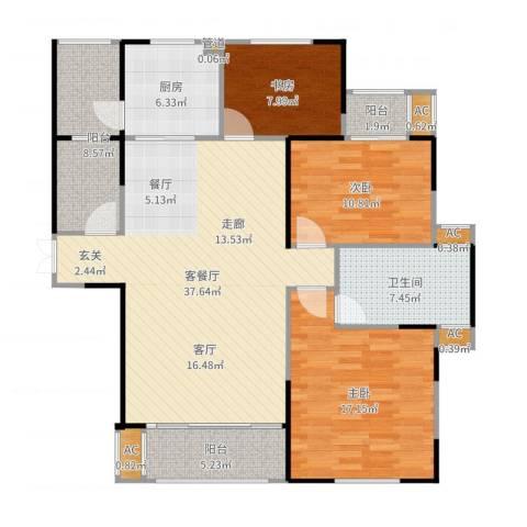 长高圆梦佳苑3室2厅1卫1厨132.00㎡户型图