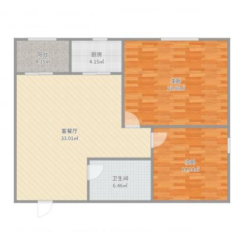 普照园小区2室2厅1卫1厨106.00㎡户型图