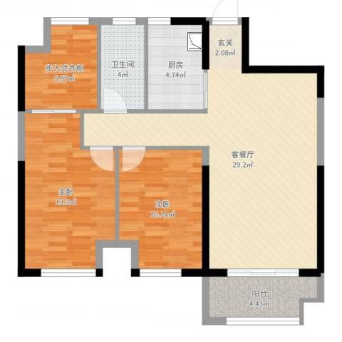 四季金辉2室2厅1卫1厨102.00㎡户型图