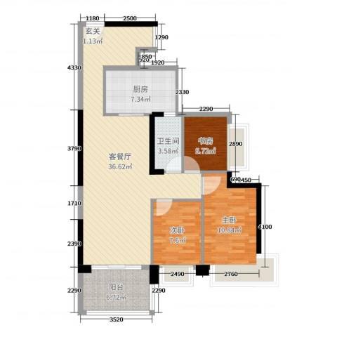 中澳春城3室2厅1卫1厨78.42㎡户型图