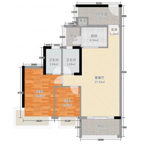 中澳春城2室2厅2卫1厨72.69㎡户型图
