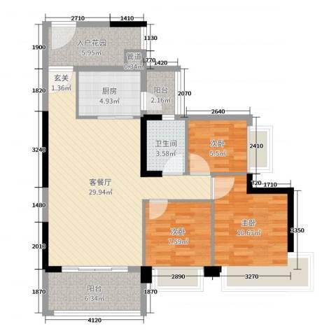 中澳春城3室2厅1卫1厨77.00㎡户型图